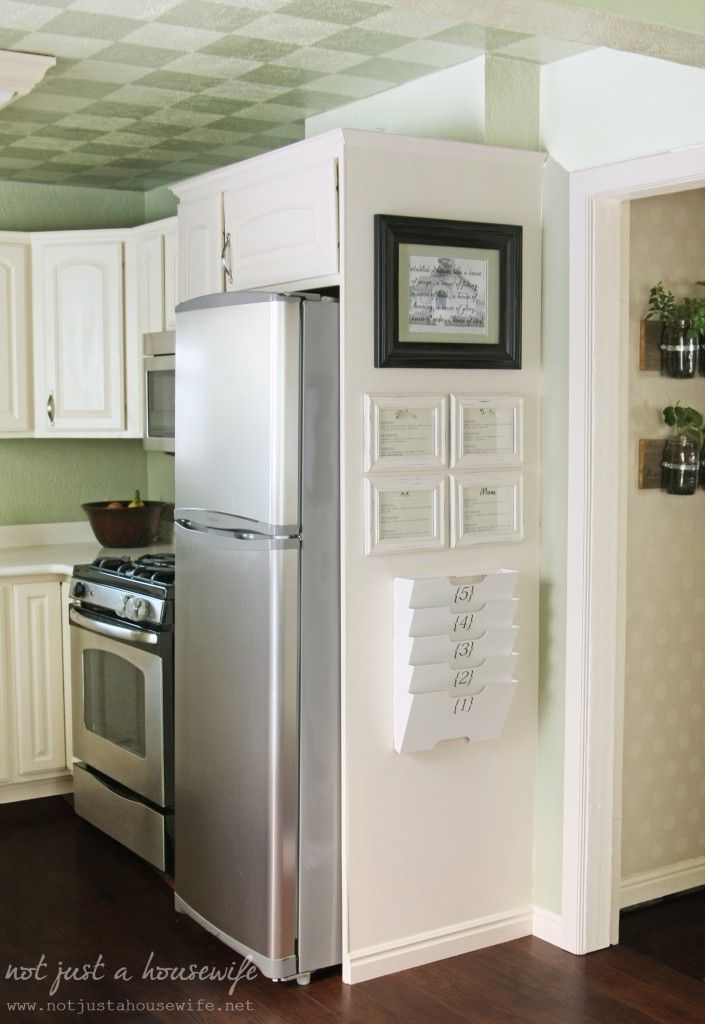 Kitchen command centre from Not Just a Housewife. #kitchen #organization