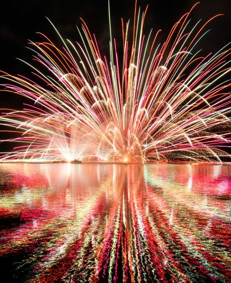 Fireworks display in Yachiyo lake, Japan