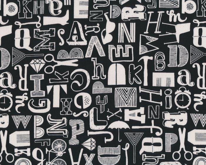 Patchworkstoff DISTRIKT, Buchstaben Accessoires, schwarz