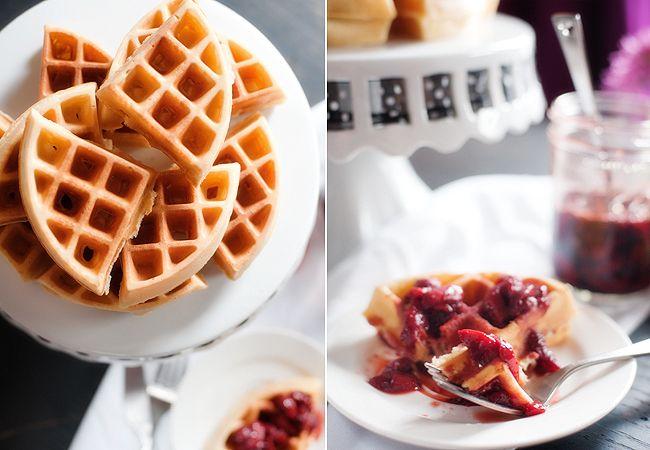 waffles and roasted balsamic strawberry sauce | www.prettyplainjanes ...