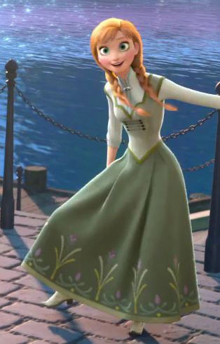 Anna, with her end of the movie outfit. Did anyone else notice that all her palace outfits were green? And Elsa's were all blue-ish purple.