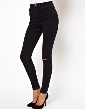 ASOS Ridley High Waist Ultra Skinny Jeans in Washed Black with Ripped Knee