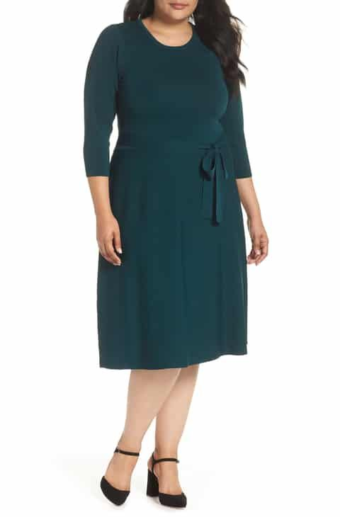 c3b6cca940c Eliza J Fit   Flare Sweater Dress (Plus Size) Best Reviews in 2019 ...
