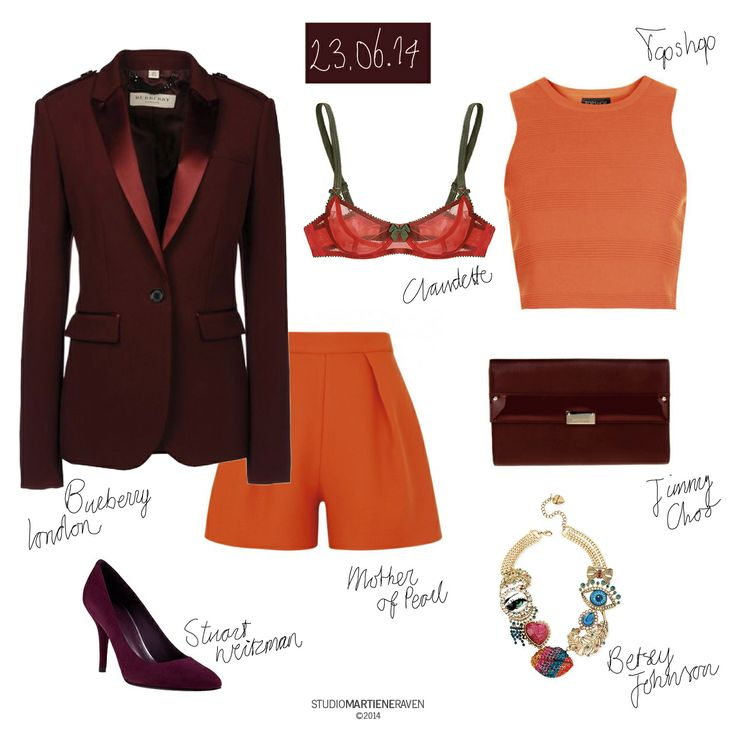 Powerstuff | out-of-the-office reply 23.06.14  shorts #MotherofPearl #HarveyNichols bra #papaya #Claudette #Journelle blazer #BurberryLondon #TheCorner pumps #StuartWeitzman clutch #JimmyChoo crop top #ottoman #Topshop necklace #BetseyJohnson #Macys  #whattoweartoday #outfit #oranje