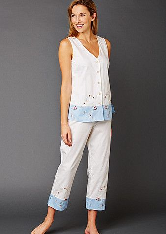 Daydreamer Sleeveless Cotton Pajamas http://www.juliannarae.com/products/daydreamer_sleeveless_cotton_pajamas.htm?salecategoryID=8