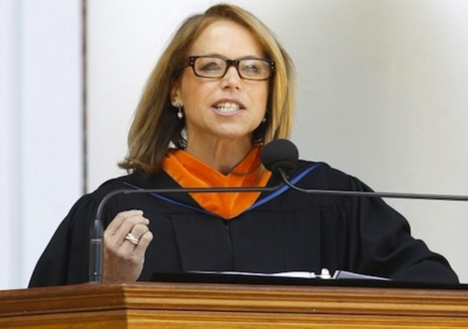 """""""Some said I lacked gravitas, which I've since decided is Latin for testicles..."""" - Katie Couric, during her commencement speech: Quote"""