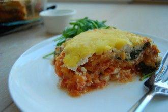 Vegetarische lasagne met courgette en zoete aardappel