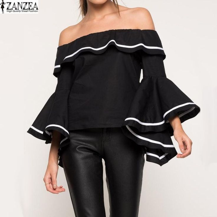 Cheap blouse off, Buy Quality shirt blouse directly from China blouses tops Suppliers: S-5XL ZANZEA 2017 Sexy Womens Ruffled Slash Neck Off Shoulder Flare Sleeve Club Casual Party Shirt Blouse Tops