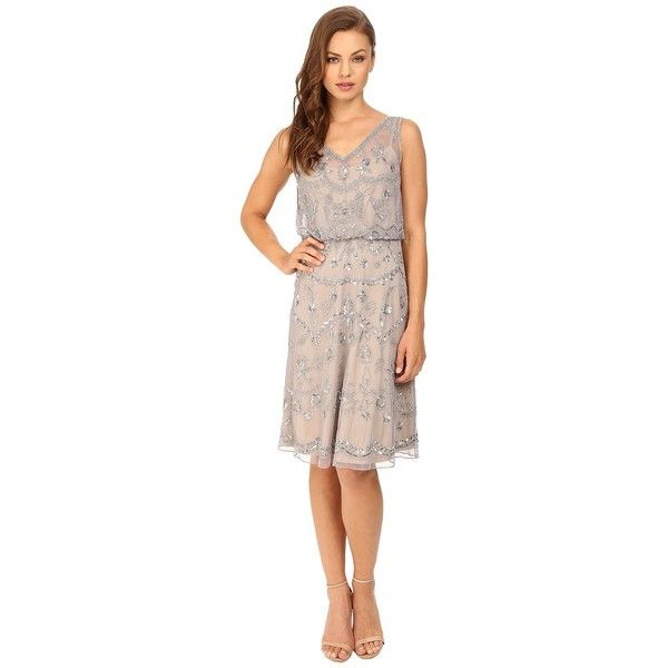 Adrianna Papell Sleeveless Beaded Blouson Cocktail Dress (Silver/Grey)... ($189) ❤ liked on Polyvore featuring dresses, silver cocktail dress, see through dress, sleeveless dress, silver sparkly dress and silver dresses