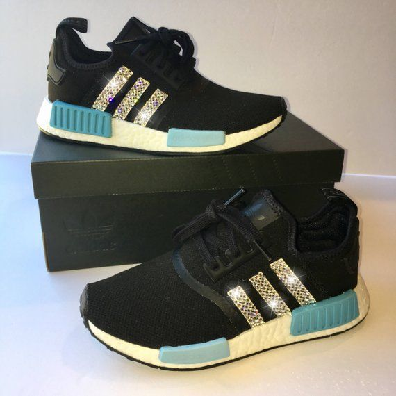 uk availability 63ff6 1e218 Bling Adidas NMD with Swarovski Crystals Black and Blue   Etsy