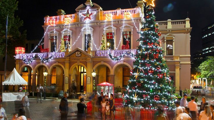 Parramatta Town Hall Building decked out for Christmas