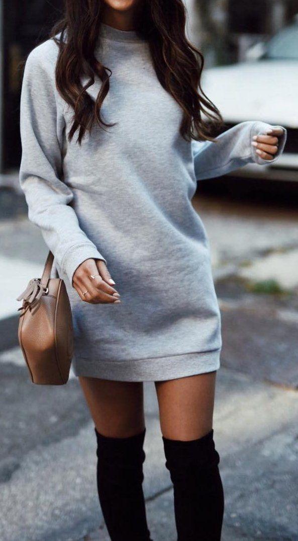 #outfit #ideas · Sweatshirt Dress // Shoulder Bag // Knee Length Boots