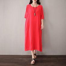 О-образным вырезом С Коротким рукавом Белье Женщины Длинное Платье Насыщенный Красный Белый Фиолетовый Повседневная Midi Платье Плюс размер Оригинальный Старинные Платья 5051
