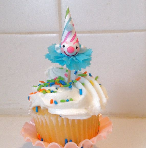 Pastel Clown Cupcake Toppers by PartyPopPop on Etsy