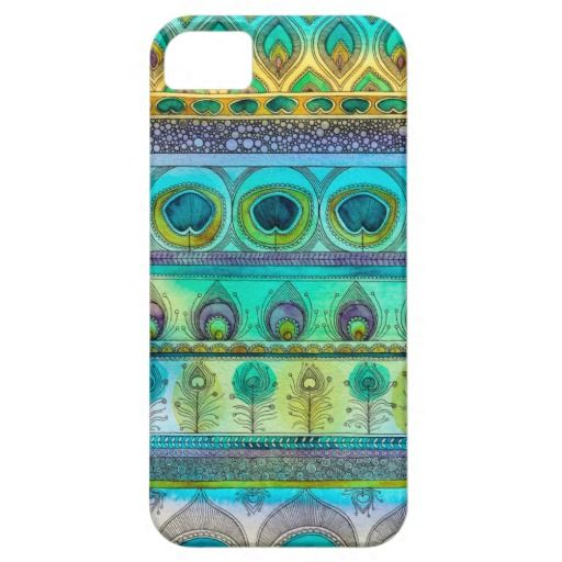 Peacock Feather Stripe Pattern iPhone 5 case by Sarah Travis Art #iPhone #case #iPhoneCase #GiftForHer