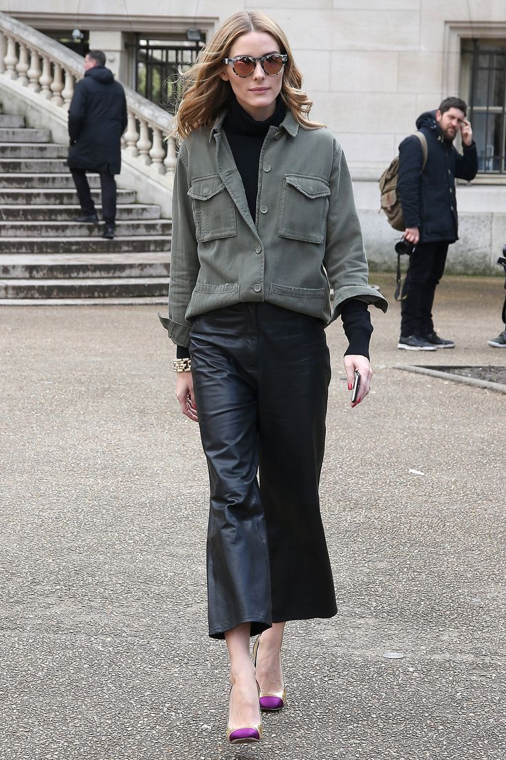 Olivia arrived at the Giambattista Valli show mixing a military-inspired top with leather culottes, Westwar...