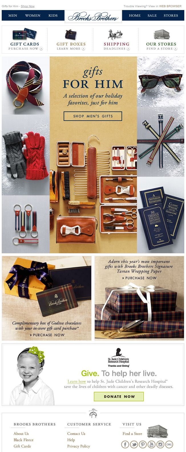 Brooks Brothers Holiday Email Design