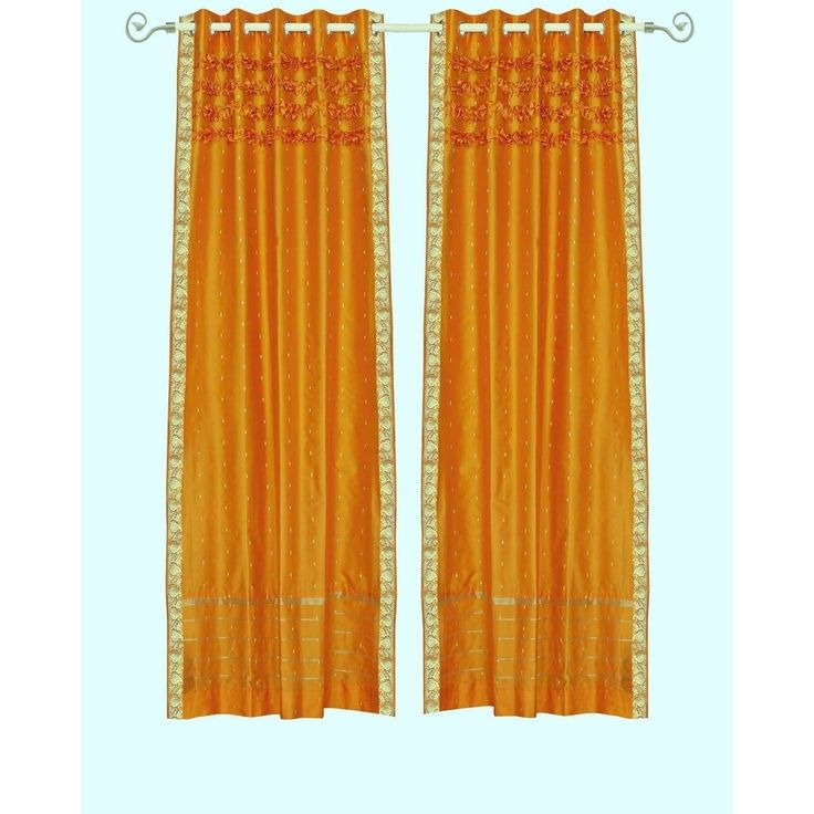 Indian Selections Mustard Hand Crafted Grommet Top Sheer Sari Curtain Panel -Piece (63 Inches - matching lining 43 x 63 inches (109 x 160 cms)), Orange, Size matching lining 43 x 63 inches 109 x 160 cms (Rayon, Solid)