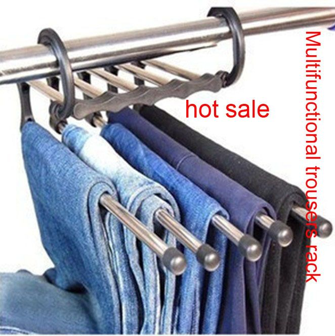Free shipping Hot sell Magic trousers hanger/rack multifunction pants closet hangerrack 5 in one Practical and convenient-in Hangers & Racks...