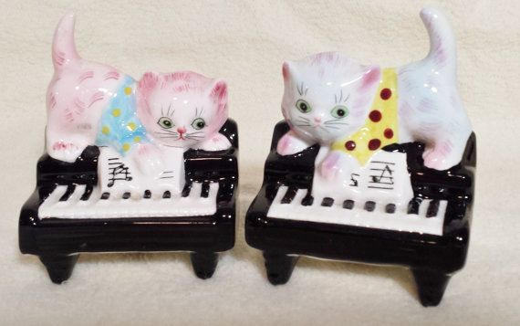 Vintage polka de PY chaton chat Salt Pepper Shakers noir Piano à queue Lefton Japon points durs à trouver