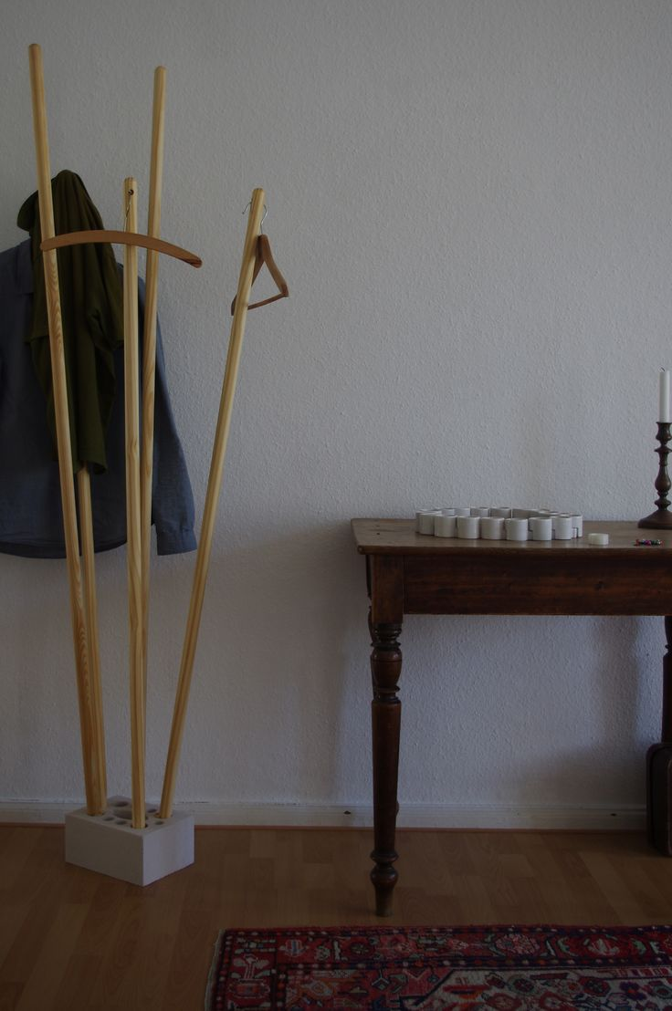 our new diy wardrobe made out of 5 wood needles a. Black Bedroom Furniture Sets. Home Design Ideas