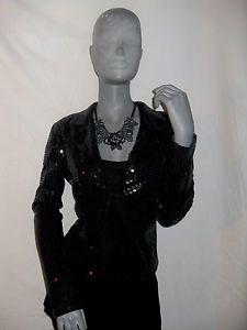 NWOT Betsey Johnson BLAZER Jacket Black Sequin EVENING STRETCH M