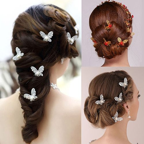 6 Pcs Butterfly U Shaped Hairpin Bride Headwear Wedding Party Hair Accessories #Affiliate