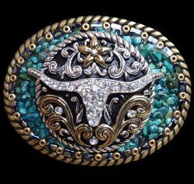 ♥ Cowgirls ♥ Bling Rhinestone Longhorn and Turquoise Western Belt Buckle clickincowgirls.com