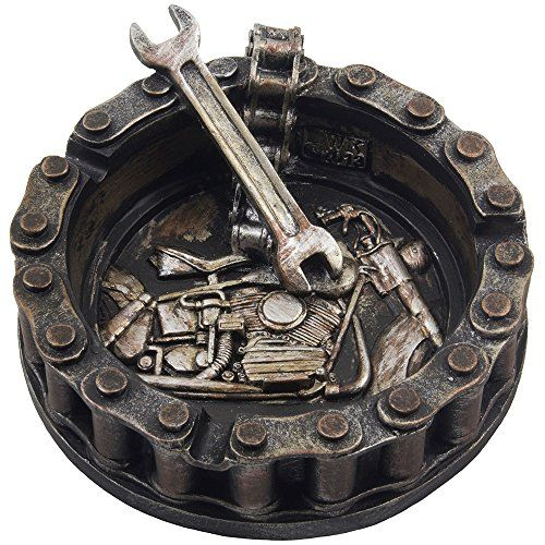 Decorative Motorcycle Chain Ashtray with Wrench and Bike Motif Great for a Biker Bar & Harley Mechanics Shop Smoking Room Decor As Unique Father's Day Gifts for Men or Smokers Home-n-Gifts http://www.amazon.com/dp/B00U176AQA/ref=cm_sw_r_pi_dp_4uLlwb03R6EZR