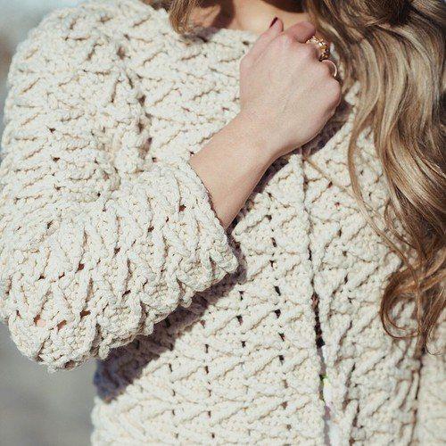 Вязание крючком Узоры попробовать: Free вязания Модели для 3 зимних пальто - Easy вязания пальто зимы Ideeas