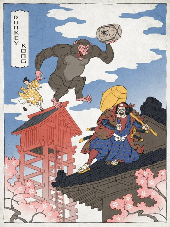 Jed Henry, traditional Japanese woodblock prints of Nintendo themes