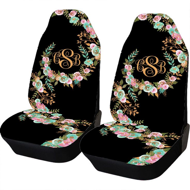 Mint and Gold Floral Car Seat Covers Set Of Two Front Seat Covers Monogrammed Personalized Car Accessories Seat Covers For Car For Vehicle by ChicMonogram on Etsy