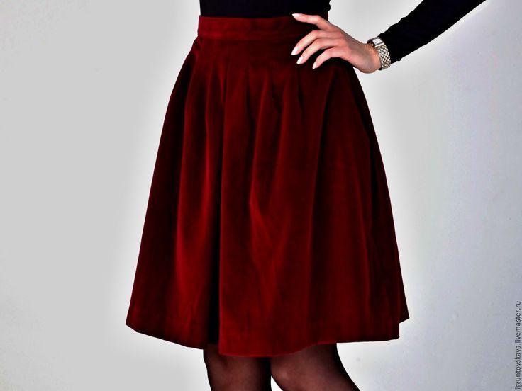 """Купить Юбка бархатная """"Цвет винный бордо"""" - бордовый, однотонный, бархат, бархатная юбка, бордо"""