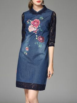 Blue Embroidered Denim Lace Paneled Half Sleeve Mini Dress