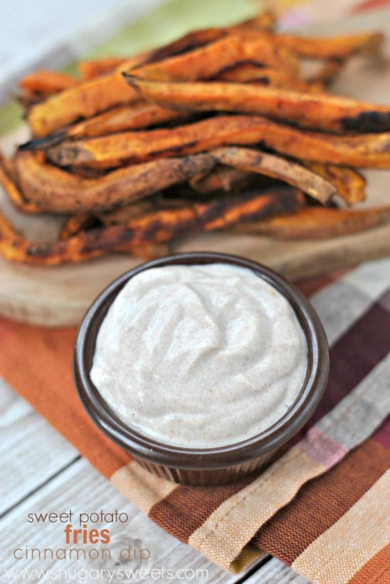 Roasted Sweet Potato Fries with sweet and spicy Cinnamon dip