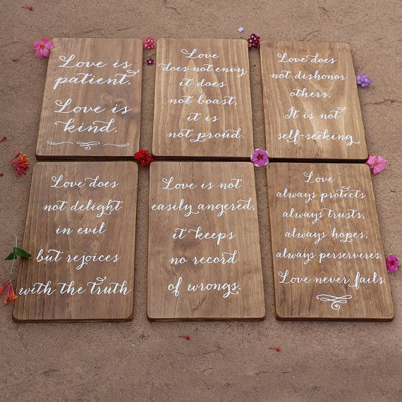 This SET of SIX Wedding Aisle Signs displays the beautiful Corinthians 13 Love is Patient Bible Verse. The signs can be used to line the aisle as a