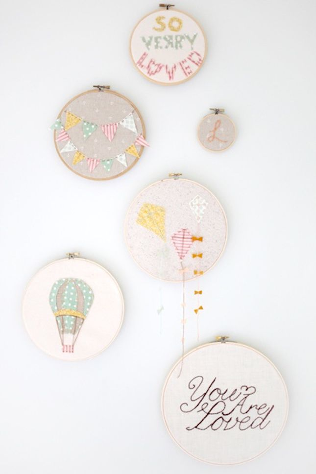DIY embroidery hoop art for your nursery.