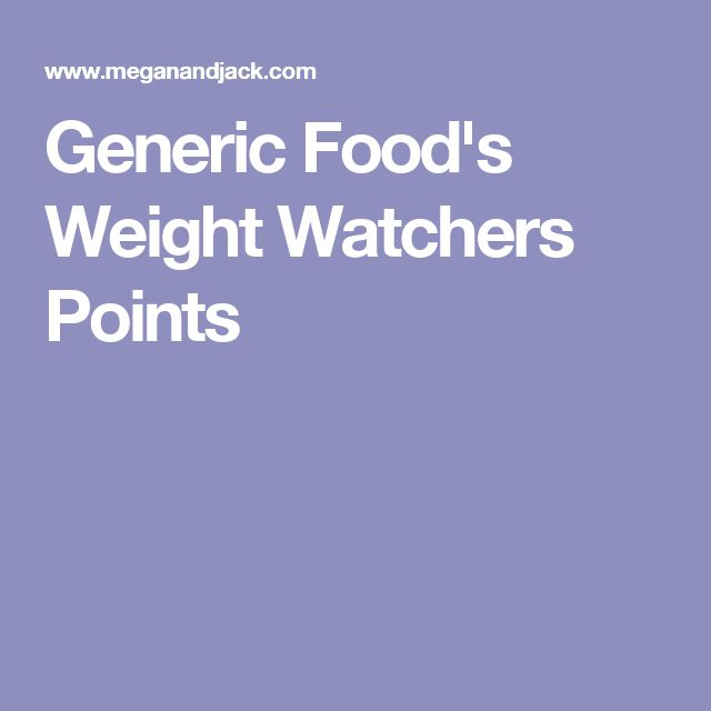 Generic Food's Weight Watchers Points