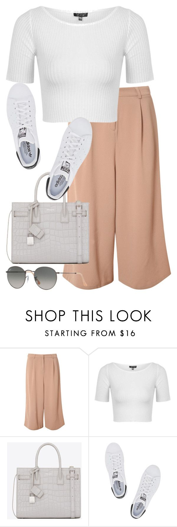 """Untitled #2769"" by elenaday on Polyvore featuring Glamorous, Topshop, Yves Saint Laurent, adidas Originals and Ray-Ban"