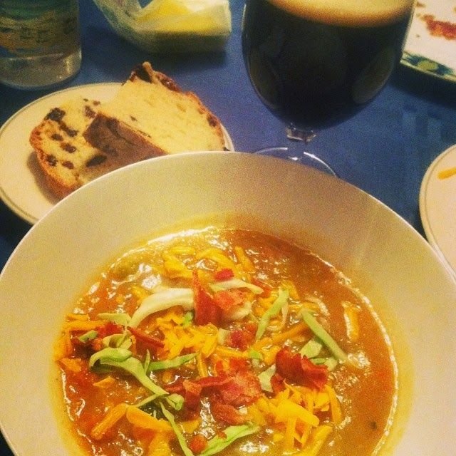 Irish Potato Cabbage Soup Served with Bacon, Cheddar and Guinness ...