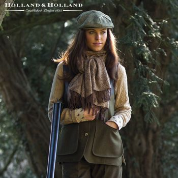 Hey, we like to look good while we shoot. It intimidates the birds. Here's a beautiful shooting vest. Holland & Holland Ladies Loden Shooting Vest