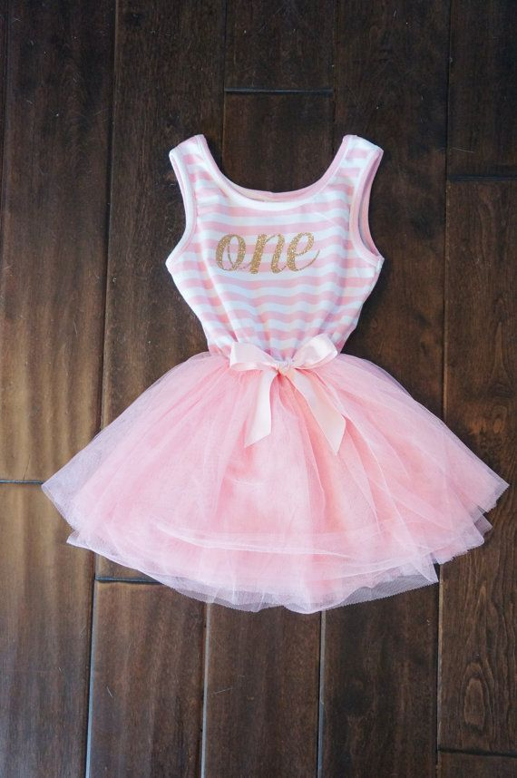 First Birthday outfit dress with gold letters and pink tutu for girls or toddlers