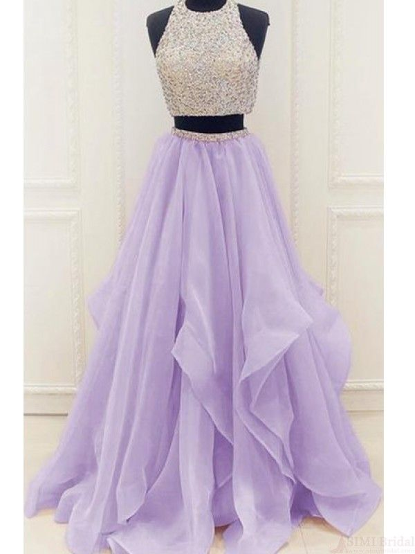 Two Pieces Beading Bodice Long Layers Prom Dresses Evening Dresses(ED1622)