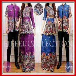 Baju gamis muslim sarimbit batik maxi peplum - Busana Muslim Terbaru