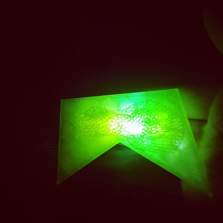 Led 3D printed light brooch