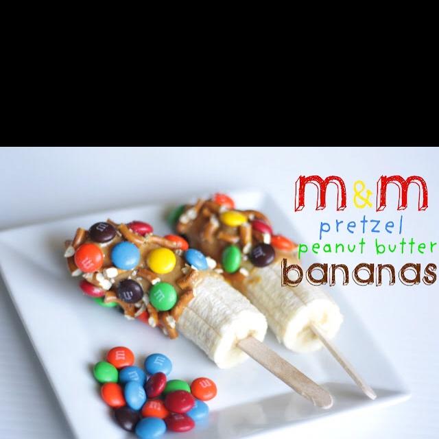 Yummy kids treat! http://the-sweet-spot-blog.blogspot.com/2012/02/m-pretzel-peanut-butter-bananas.html