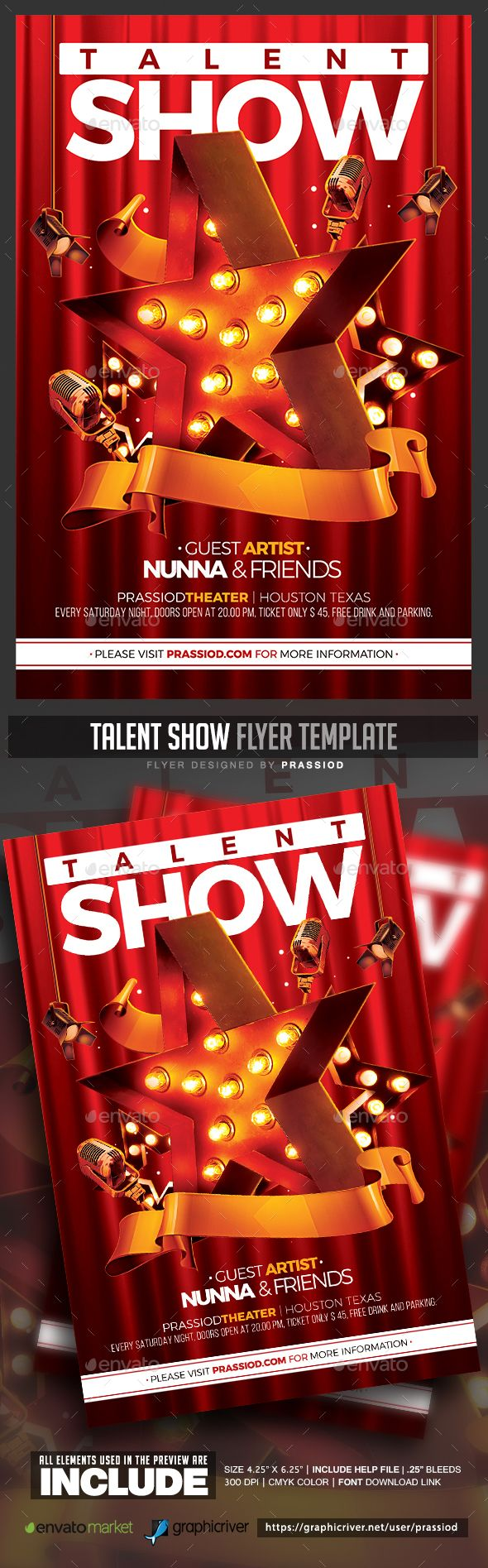 Talent Show #Flyer Template - Clubs & Parties Events Download here: https://graphicriver.net/item/talent-show-flyer-template/19748138?ref=alena994
