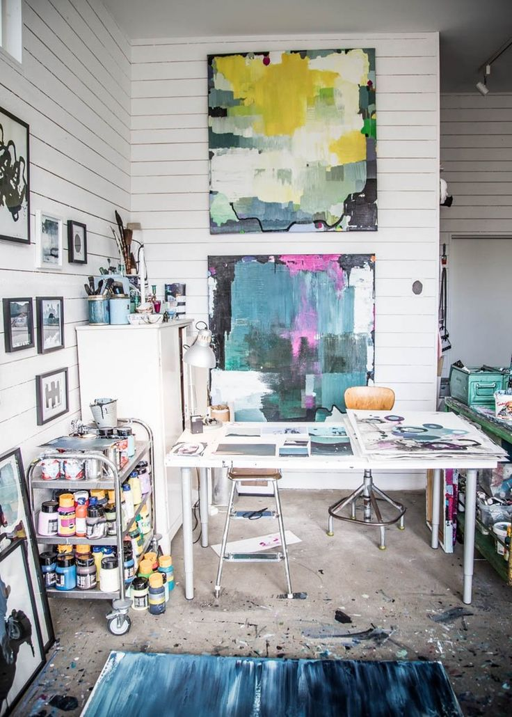 I'm continually fascinated by the places where creative people live and work. These four spaces are not just the homes, but also the studios of four very talented contemporary artists. It's lovely to see how the aesthetic of their work carries through their homes — and how they blend living and working into one beautiful space.