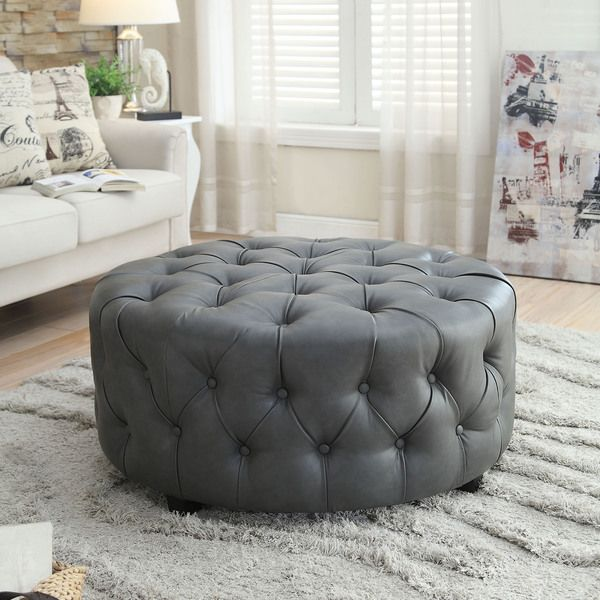 Furniture of America Karlie Contemporary Round Tufted Bonded Leather Ottoman
