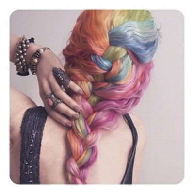 ♛ We Heart Hair♛: French Braids, Rainbows Hair, Hair Colors, Haircolor, Pastel Rainbows, Hair Style, Pastel Hair, Hair Chalk, Colors Hair